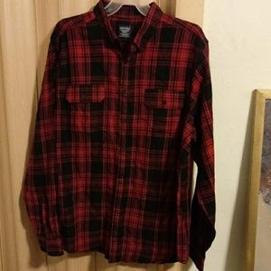 NWOT red and black button down flannel